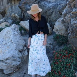 Dresses & Skirts - cream floral maxi skirt